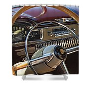 1949 Cadillac Sedanette Steering Wheel Shower Curtain