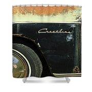 1950 Ford Crestliner Wheel Emblem Shower Curtain