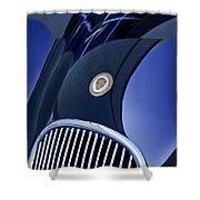 1951 Jaguar Proteus C-type Grille Emblem 4 Shower Curtain by Jill Reger