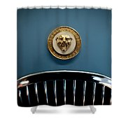 1952 Jaguar Hood Ornament Shower Curtain by Sebastian Musial