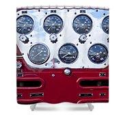 1952 L Model Mack Pumper Fire Truck Controls Shower Curtain
