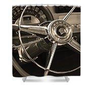 1953 Pontiac Steering Wheel - Sepia Shower Curtain