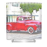 1953 Red Chevy Pickup Truck Shower Curtain