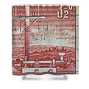 1954 Centenary Of Australian Telegraph Stamp Shower Curtain