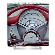 1954 Chevrolet Corvette Steering Wheel Shower Curtain