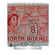 1954 North Borneo Stamp Shower Curtain