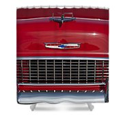 1955 Chevrolet 210 Hood Ornament And Grille Shower Curtain