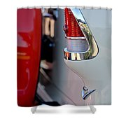 1955 Chevrolet Belair Taillight Emblem Shower Curtain