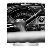 1955 Chevy Bel Air Dashboard In Black And White Shower Curtain by Sebastian Musial