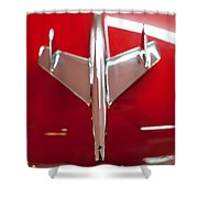 1955 Chevy Belair Hood Ornament Shower Curtain
