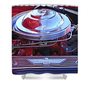 1955 Ford Thunderbird Engine Shower Curtain
