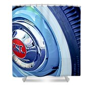 1955 Gmc Suburban Carrier Pickup Truck Wheel Emblem Shower Curtain