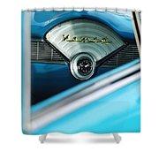 1956 Chevrolet Belair Nomad Dashboard Clock Shower Curtain