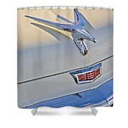 1956 Chrysler Windsor Town And Country  Hood Ornament Shower Curtain