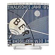 1957 - 1958 East German Sputnik Stamp Shower Curtain