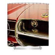 1957 Dual Ghia Convertible Coupe Grille And Hood Emblem Shower Curtain