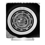 1958 Corvette White Walls Shower Curtain