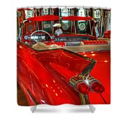 1959 Cadillac At The Pumps Shower Curtain