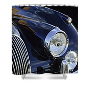 1959 Jaguar S Roadster Headlights Shower Curtain