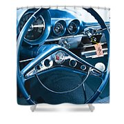 1960 Chevrolet Impala Steering Wheel Shower Curtain