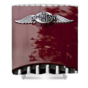 1960 Morgan Plus Four Drophead Coupe Hood Emblem Shower Curtain