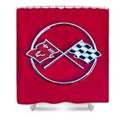 1962 Chevrolet Corvette Hood Emblem 2 Shower Curtain