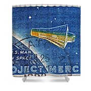 1962 Man In Space Stamp Shower Curtain