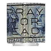 1962 Pray For Peace Stamp Collage Shower Curtain