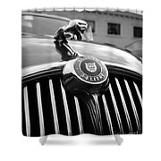 1963 Jaguar Front Grill In Balck And White Shower Curtain