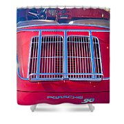 1963 Red Porsche 356b Super 90 Back End Shower Curtain