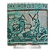 1964 New York World's Fair Stamp Shower Curtain