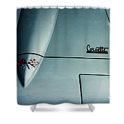 1966 Corvette Sting Ray Hood Insignia Shower Curtain