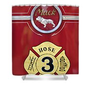 1966 Mac C Model Open Cab Fire Truck Emblem Shower Curtain