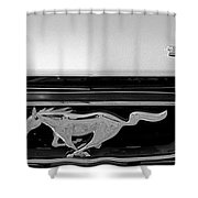 1966 Mustang Logo Bw Shower Curtain