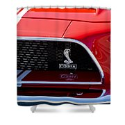 1968 Ford Mustang 427 Ci Fastback Grille Emblem Shower Curtain