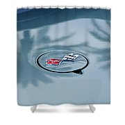 1971 Chevrolet Corvette Gas Cap Emblem Shower Curtain
