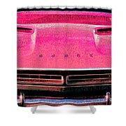 1971 Dodge Challenger - Pink Mopar Typography Shower Curtain
