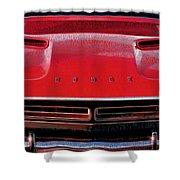 1971 Dodge Challenger - Red Mopar Typography Shower Curtain