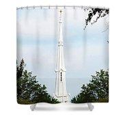 1st Christian Steeple Shower Curtain