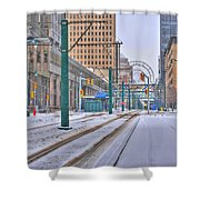 1st Real Snowfall Metro Rail 2012 Shower Curtain