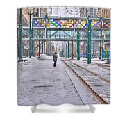 1st Real Snowfall Metro Rail Downtown Shower Curtain