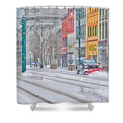 1st Real Snowfall Plow 2012 Shower Curtain