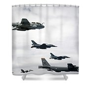 A B-52 Stratofortress Leads A Formation Shower Curtain