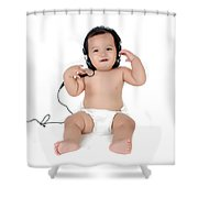 A Chubby Little Girl Listen To Music With Headphones  Shower Curtain