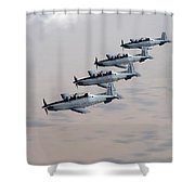 A Formation Of Iraqi Air Force T-6 Shower Curtain