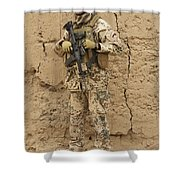 A German Army Soldier Armed With A M4 Shower Curtain