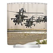 A Group Of Ah-64d Apache Helicopters Shower Curtain