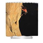A Man Rock Climbing On El Capitan Shower Curtain