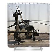 A Uh-60 Black Hawk Helicopter Parked Shower Curtain