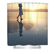 A Woman Enjoys The Warm Sun On The Edge Shower Curtain